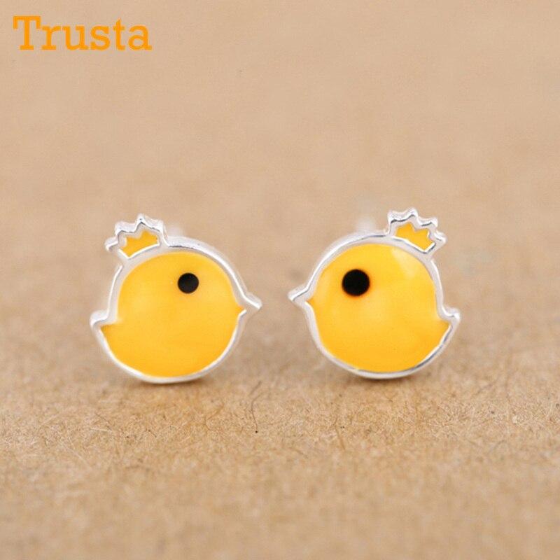 Trusta New 100% 925 Sterling Silver Earring Fashion Cute Tiny Yellow Glaze Chicken Stud Earrings Gift For Girls Kids Lady DS06