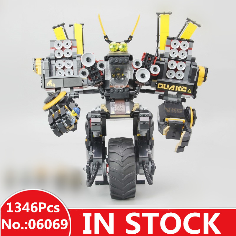 IN STOCK H&HXY 06069 1346 Pcs Cole's Quake Mech Ninjago Series Jay Kai A Gang's Unicycle Lepin Building Blocks Toys 70632 lepine 06069 1346 pcs ninjagoe quake mech set jay kai a gang s model building blocks toys for children compatible legoe 70632