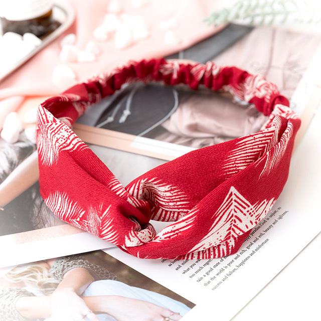 Women  Headband Vintage Cross Knot Elastic Hair Bands Soft Solid Girls Hairband Hair Accessories 2