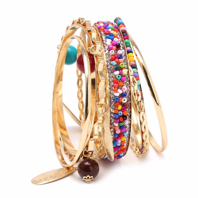 bohemian bracelets media layering bracelet boho stretch jewelry wholesale stackable chic stacking