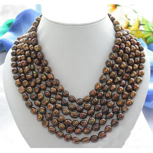 New Arriver Real Pearl Jewellery,6 Rows 9-11mm Coffee Baroque Freshwater Cultured Pearl Necklace,Free Shipping недорого
