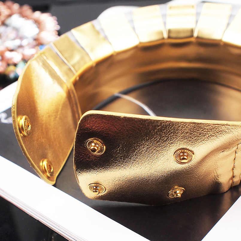 MANILAI ヴィンテージ声明チョーカーネックレス女性レザー襟マキシネックレスアフリカのジュエリー調節可能なチョーカー大きな