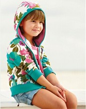Super quality 2014 French designer children hooded coat Girls brand Autumn Winter floral jackets Kids casual