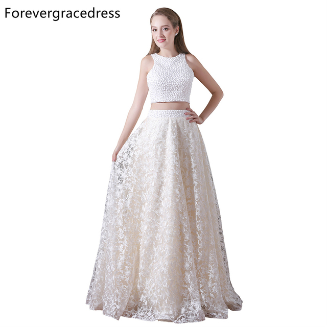 Forevergracedress New Arrival Two Piece Prom Dress A Line Lace Long  Homecoming Evening Party Gown Plus 32cd37bb8148