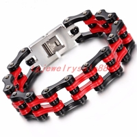 18mm Wide Cool Men S Heavy Black Red Color Stainless Steel Bracelet Bicycle Motorcycle Chain Bangle