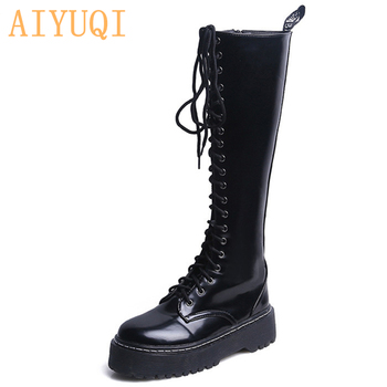 AIYUQI 2020 autumn new women long boots British wind flat winter fashion elastic force