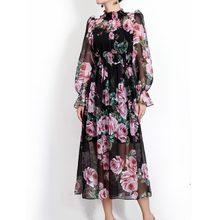 9b9170bc5b Alta calidad nueva moda verano vestido de diseñador de manga larga rose  Vintage impresión Chiffon playa Bohemia MEDIADOS DE-bece.