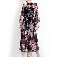 Wysokiej jakości 2018 moda lato markowa damska długi rękaw rose drukarnie Vintage Szyfonu Połowy Łydki sukienka plaży Cyganerii