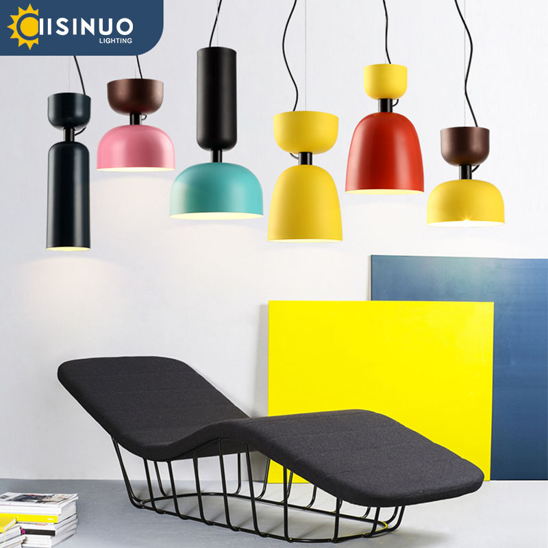 Modern LED Pendant Light Multicolour Dining-room Restaurant Bar Lamp Painted Aluminum Lamps Home Decration Lighting E27 90-260V [mingben] earth pendant light e27 socket creative arts cafe bar restaurant bedroom home dining room nordic pendant lamps 90 260v