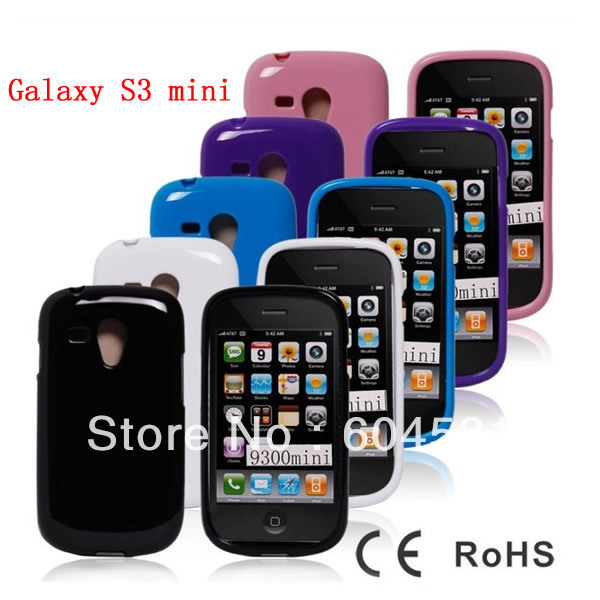 Hot sales 100 pcs/lot mix color High Quality  Soft TPU Skin Cover Case For Samsung Galaxy S3 III mini i8190 Fedex  free shipping