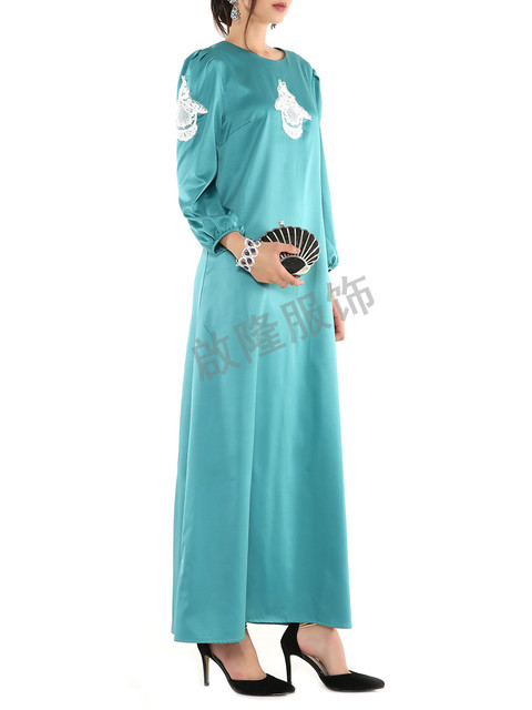 Новая Мода исламская района о шеи платье абая кафтан для Малайзии женщин турецкая абая мусульманское платье с длинным рукавом