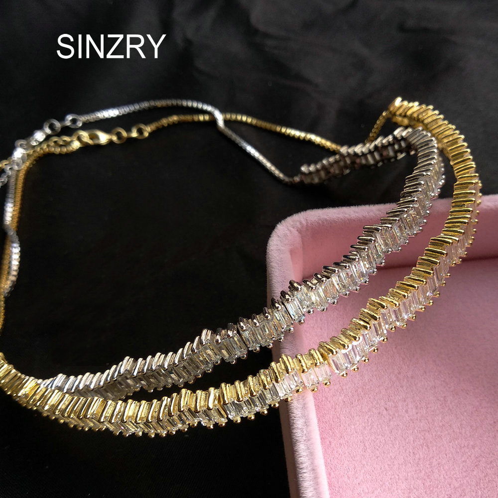 SINZRY Hotsale Yellow gold color elegant AAA cubic zirconia micro paved brilliant chokers necklace band for women jewelry gift