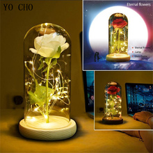 YO CHO LED Lamp Rose Flower Red Rose In Glass Flask Preserved Flower Valentine's Day Birthday Gift Artificial Flower Glass Cover