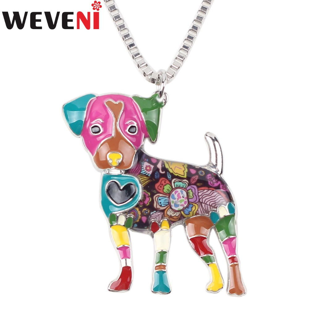 WEVENI Statement Enamel Metal Jack Russell Dog Necklace Pendants Collar Chain New Fashion Accessories Animal Jewelry For Women