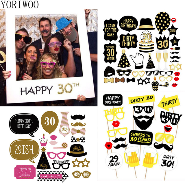 YORIWOO 30th Birthday Photo Booth Props Men Women 30 Years Happy Party Decorations Adult Photobooth DIY Latex Balloon