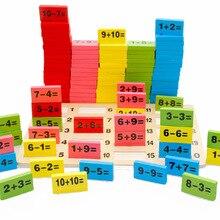 SSTB Enfants Enfant En Bois Multicolore Mathématiques Math Domino Blocs Apprentissage Jouet Ensembles, 1 SET = 110 PCS + 1 PC Sac De Stockage