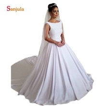 Sunzeus White Satin A-Line Wedding Dresses Scoop Backless