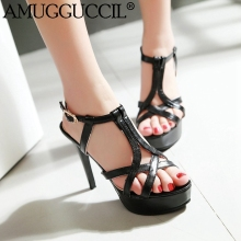 2017 New Plus Big Size 32-45 Black White Pink Buckle Fashion Sexy High Heel Platform Summer Girl Female Lady Women Sandals L745