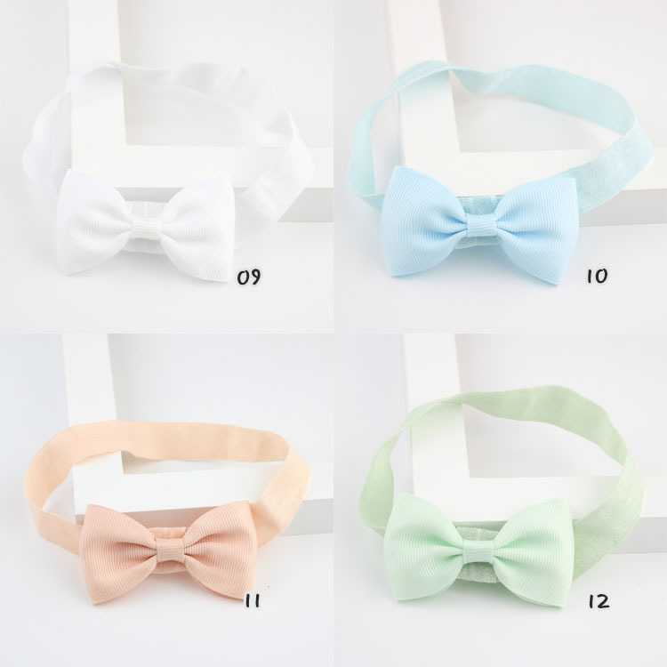 20 Colorful Candy Color Kids Headband Ribbon Bows Elastic Hair Bands Cute Newborn Girls Bow   Headwear   Hairband Hair Accessories