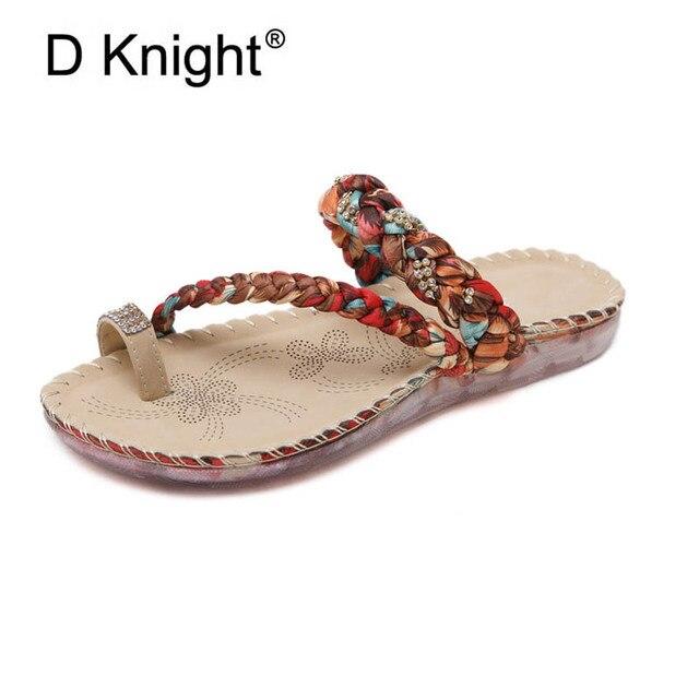 f2c54bccd52aad Ladies Casual Flat Summer Slippers New Elegant Rhinestone Bohemia Beach  Slipper For Women Fashion Female Flat Sandals Size 35-42