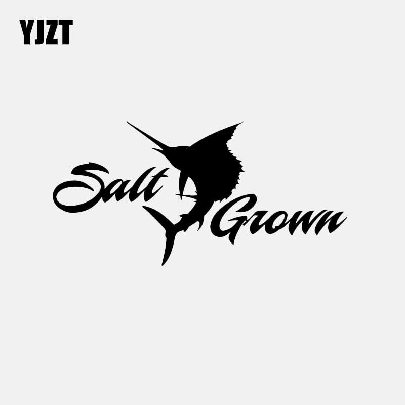YJZT 15.8CM*7.7CM Salt Grown Brand Sailfish Vinyl Car Sticker Window Decal Saltwater Fishing Black/Silver C24-0997