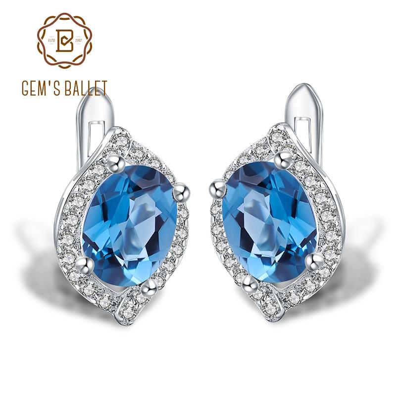 Gem s Ballet 3 15Ct Natural London Blue Topaz Gemstone Stud Earrings 925 Sterling Silver Fine