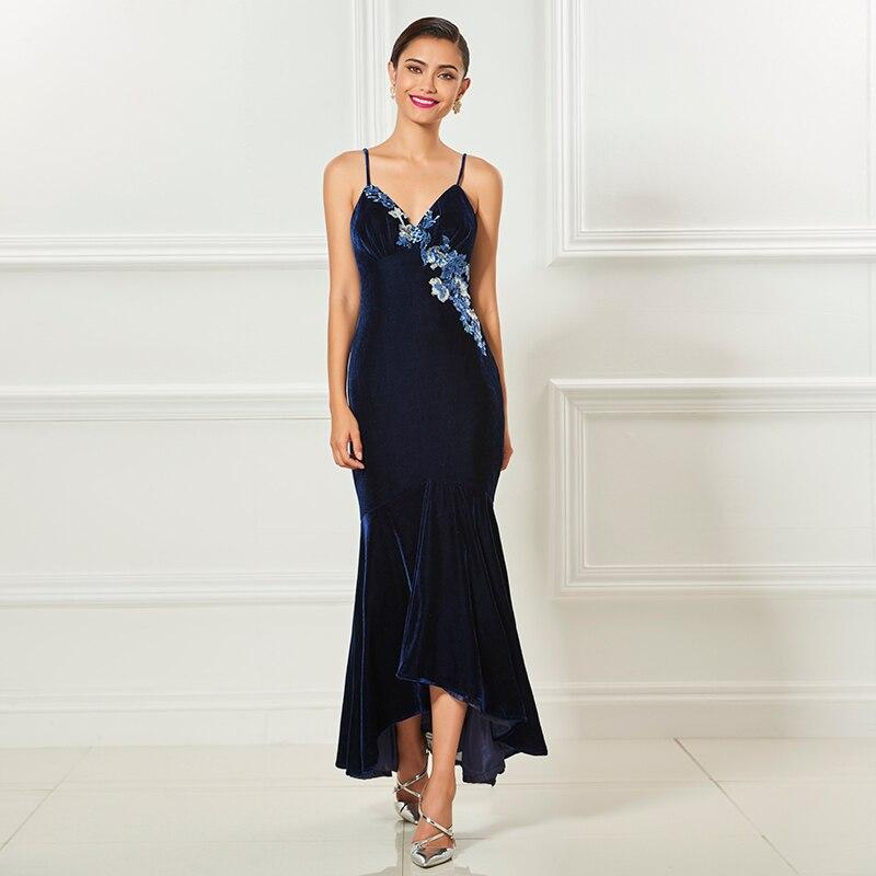 Tanpell קטיפה כחולה שמלת קוקטייל רצועות ספגטי אורך תה אפליקציות בת ים שמלת צד גברת פורמליות שמלות קוקטייל מותאם אישית