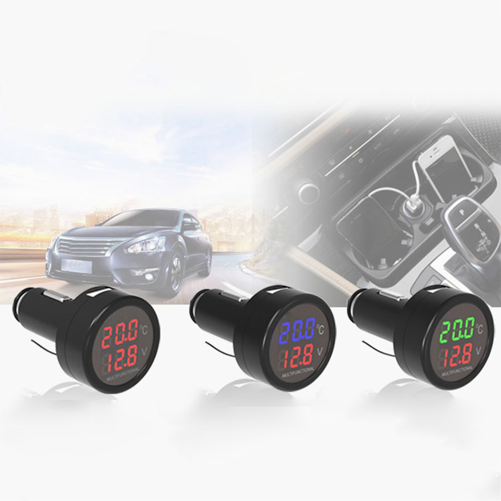 2.1A Car Charger Phone Charger 12V/24V Automobile Digital Voltmeter Thermometer Vehicle Volt Meters Car Accessaries