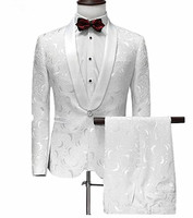 Men Suit One Button White Jacquard Suit with Pants Tuxedo Shawl Collar Wedding Suit Custom Made 2 Pieces(Jacket+Pants)