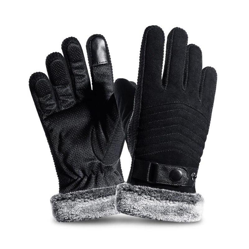 SUOGRY Full Winter Finger Windproof Gloves Warm Men