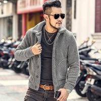 2018 Winter furry jacket men warm plush collar slim casual solid knitwear Mens fur padded new design woolen knitted cardigan
