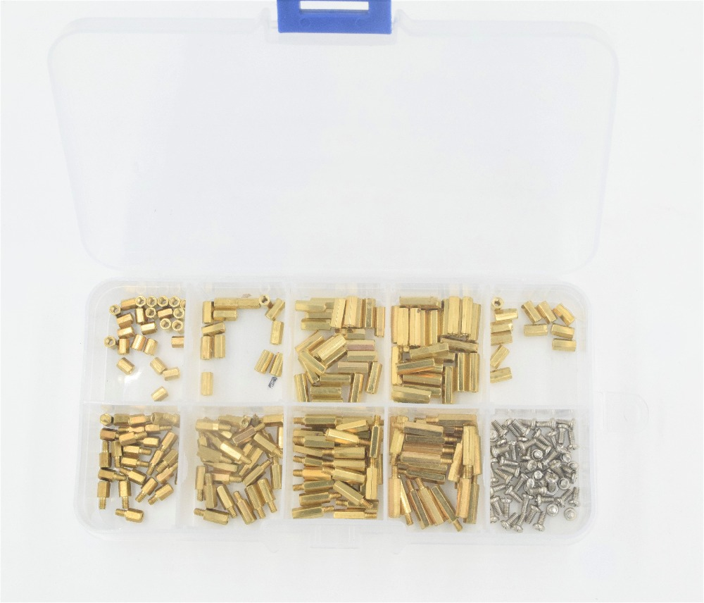 270Pcs/set <font><b>M2</b></font> Pan Head Screws <font><b>Brass</b></font> Female-Female <font><b>Standoff</b></font> Assortment Kit Set Fastener Hardware for PCB Motherboard image