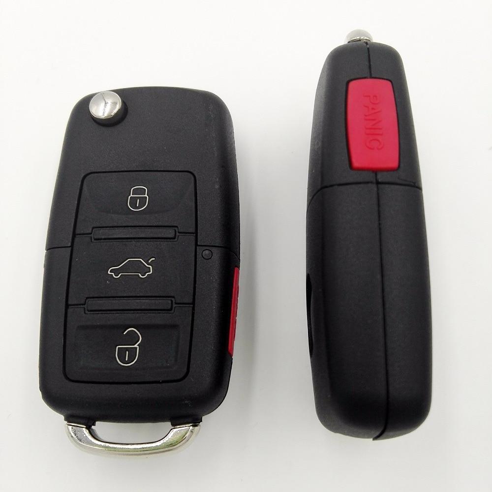 3 Buttons Flip Key Shell Red Panic Button Square Rubber Head For VW Golf 4 5 6 Passat B5 B6 Polo Bora Touran Replacement Key
