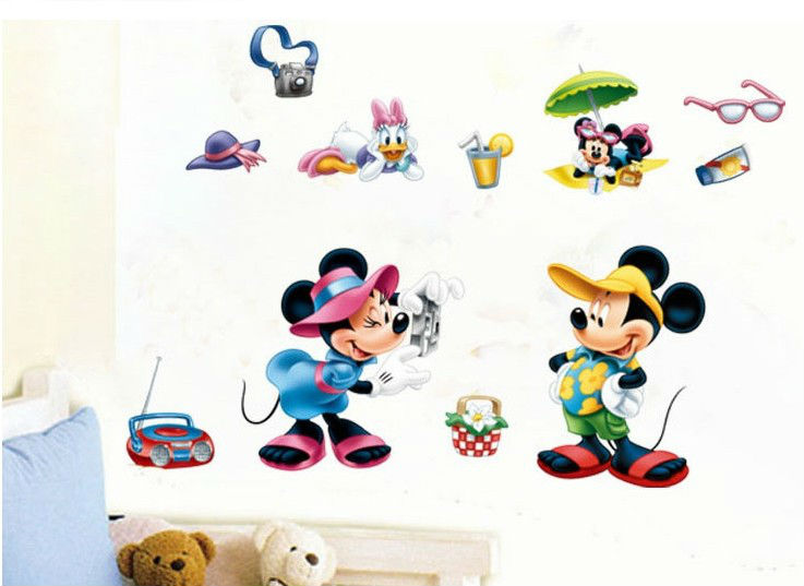 cute cartoon mickey animals wall panels paintings for children room glass mirror wall decor sticker - Cartoon Painting For Kids