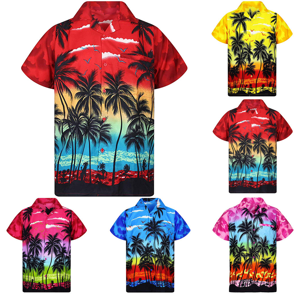 2019 New Shirt Fashion Men's Casual Button Hawaii Print Beach Short Sleeve Quick Dry Top Blouse M-3XL Four Colors Hawaiian Shirt