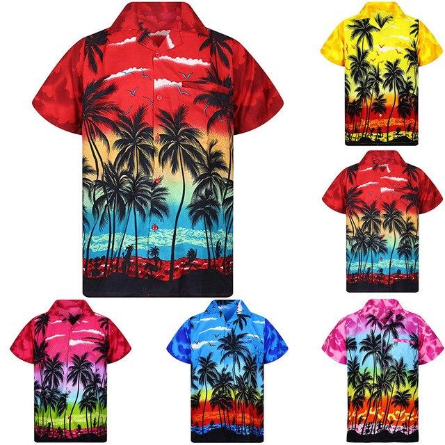 2019 mode hommes décontracté bouton Hawaii imprimer plage manches courtes séchage rapide haut chemisier M-3XL hawaïen chemise streetwear