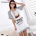 Camisola de algodão Para As Mulheres Verão curto-luva sleepwear salão sono um-vestido peça plus size camisola