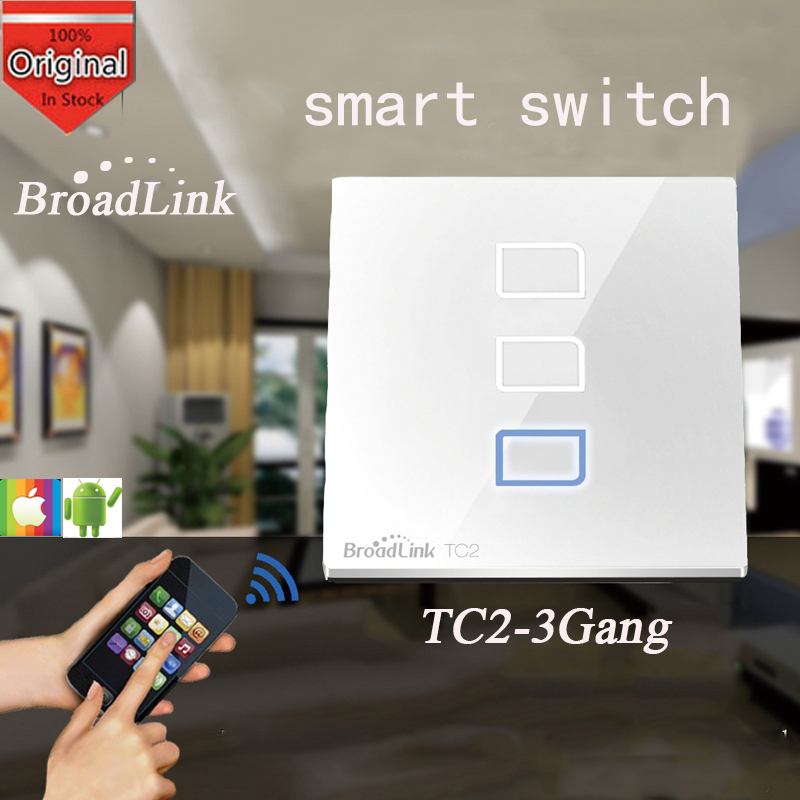 Broadlink TC2 3 Gang,Switch Relay, Wireless Remote Control Network Wifi Wall Light Touch Switch 433MHZ Smart Home Automation 2017 free shipping smart wall switch crystal glass panel switch us 2 gang remote control touch switch wall light switch for led
