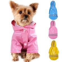 Летний плащ-дождевик для щенков, домашних животных, S-XL, с капюшоном, водонепроницаемые куртки, полиуретановый дождевик для собак, кошек, одежда, 40JE14