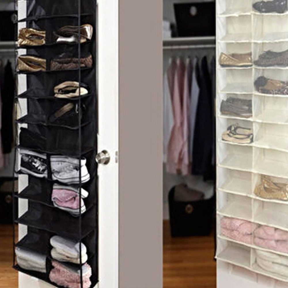 637262c63c49 26 Grids Pockets Bedroom Room Over Door Hanging Shoe Rack Shelf Storage  Organiser Holder Wall Bags Home Tool