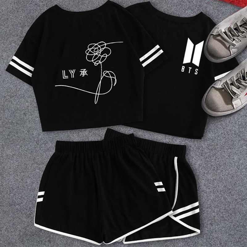 a6073ecde34 2019 Summer Cotton Striped Women s Tracksuit BTS Clothes Set 2 Piece Woman  Suits Shorts Crop Tops