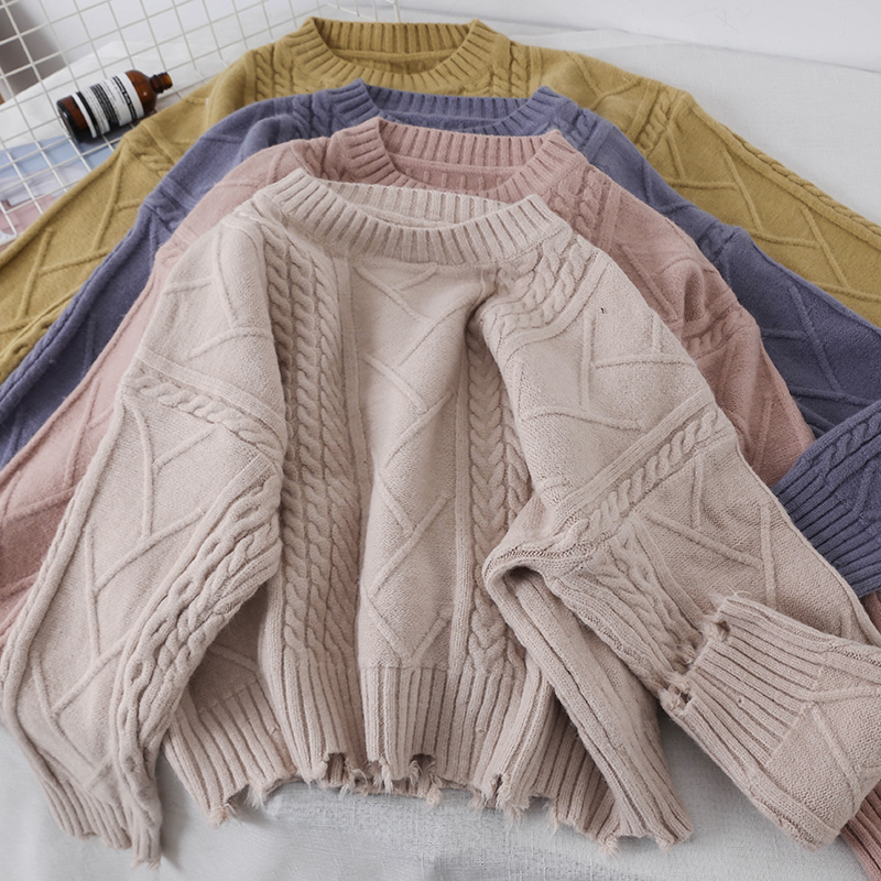 2018 new fashion women's sweater autumn solid color simple diamond pattern knitting pullover