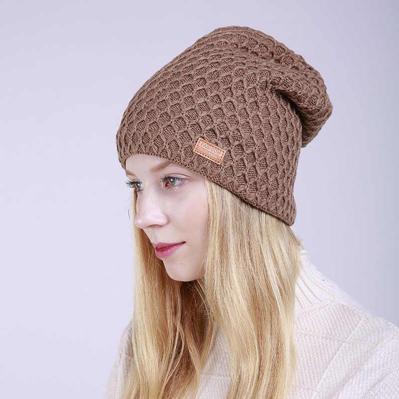8963c46ff04b0 ... 2018 Women Winter Cap Fleece Slouchy Beanie Hat Thicken Cashmere Hat  Knitted Warm Cap Fashion Ladies ...