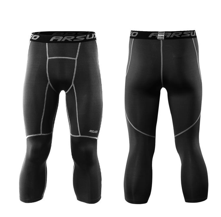Meggings - leggings pour homme coupe 3/4 pantacourt de sport gym yoga noir, vue de face et de dos