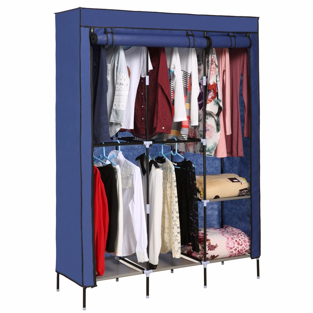 Nonwoven Wardrobes Portable Simple Built Closet Solid Dustproof Storage Cloth Cabinet Shelves Hanging Clothes Organizer N20A