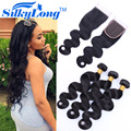 Brazilian Virgin Hair With Closure Factory Sale 3 Bundles With Closure Unprocessed Human Hair Weave Body Wave With Closure