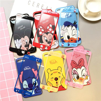 Luxury 360 Full mickey Minnie Stitch Pooh glass Screen Protector silicone Phone Case for iphone X XS 7 6 S 6S 8 Plus Coque Cover winnie the pooh iphone case