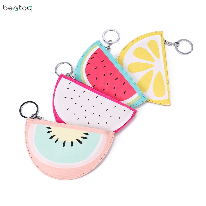 Cartoon Fruit Women Coin Purse Small Leather Purse Clutch Mini Wallet Watermelon Lemon Pattern Bag Zipper Credit Card Holder fashion graffiti printing animal giraffe cat mini wallet women small zipper coin purse mini cartoon women wallet card holder
