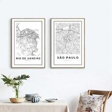Sao Paulo, Brasil mapa Póster Artístico impreso De la pared De Río De Janeiro Mapa De la ciudad De pintura De la lona De la pared imágenes artísticas casa Decoración