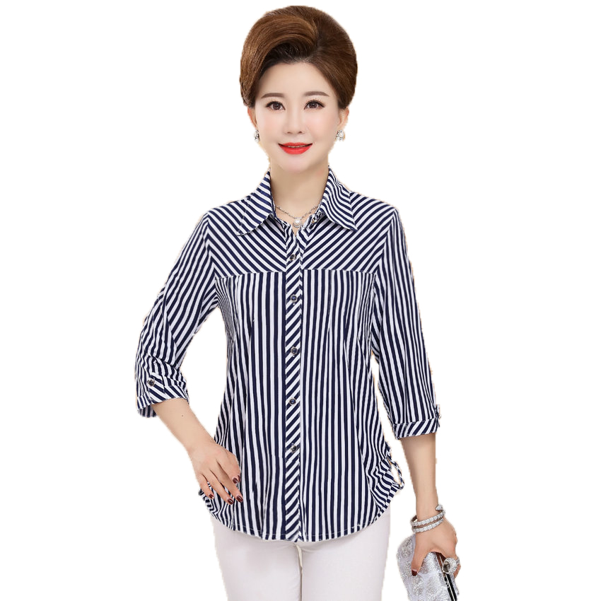 Woman Autumn Shirts Red Blue Striped Tops Middle Aged Women S Three